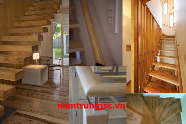 mặt bậc tay vịn cầu thang gỗ ghép