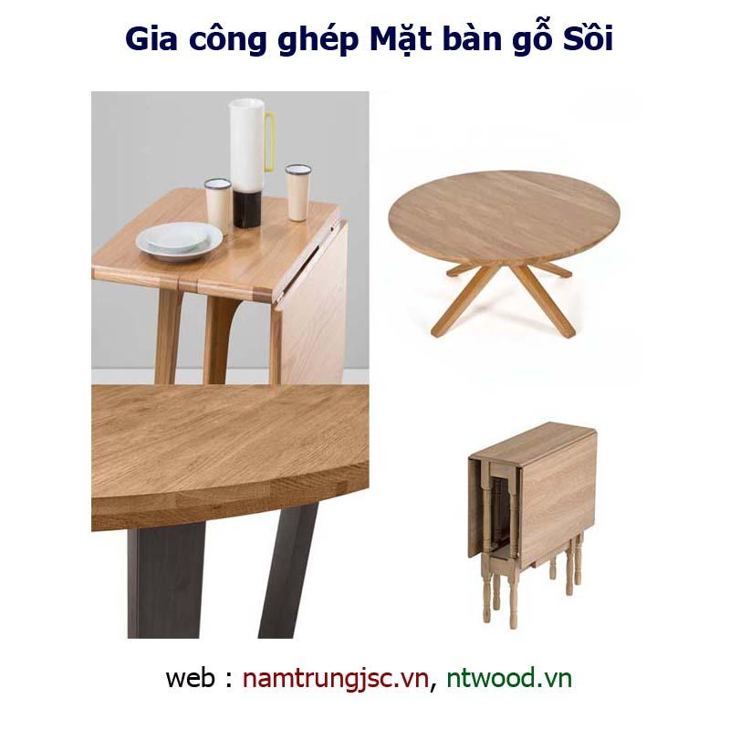 gia công ghép mặt bàn gỗ Sồi